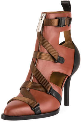Chloé Tracy Colorblock Strappy Front-Zip Ankle Boot