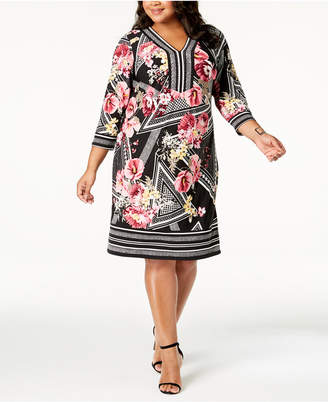 JM Collection Plus Size Mixed-Print Sheath Dress, Created for Macy's