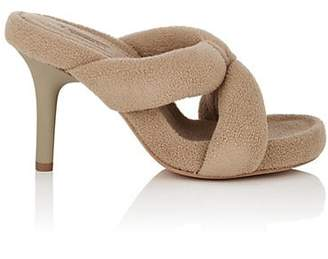 Yeezy Women's Crisscross-Strap Fleece Sandals - Beige, Tan