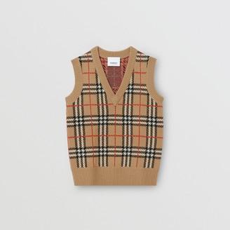 Burberry Childrens Check Merino Wool Jacquard Vest