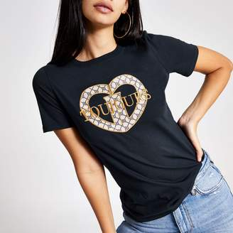 River Island Womens Navy 'Toujour' embroirded T-shirt