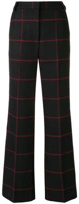Self-Portrait checked flared trousers