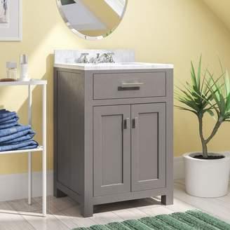 "Andover Mills Raven 24"" Single Bathroom Vanity Set with Mirror Base"