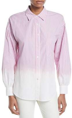 Derek Lam 10 Crosby Striped Ombre Button-Down Shirt