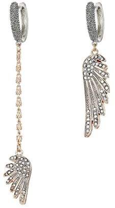 Betsey Johnson Wing Linear Non-Matching Earrings
