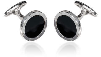 Jan Leslie Round Onyx Screw Sterling Silver Cufflinks