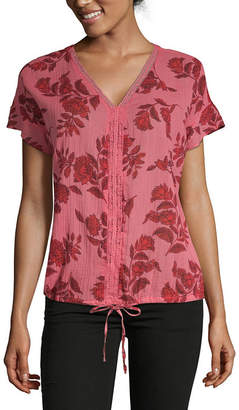 Liz Claiborne Womens V Neck Short Sleeve Floral Blouse