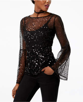 INC International Concepts I.n.c. Sequinned Illusion Top