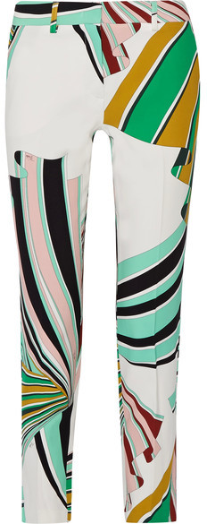 Emilio Pucci - Printed Stretch-twill Skinny Pants - Green