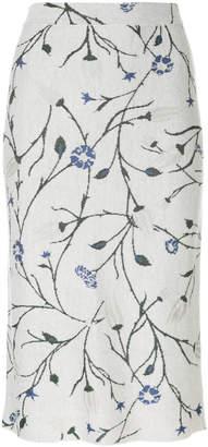 Christian Wijnants leaf print knitted skirt