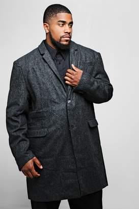 boohoo Big And Tall Wool Mix Check Overcoat