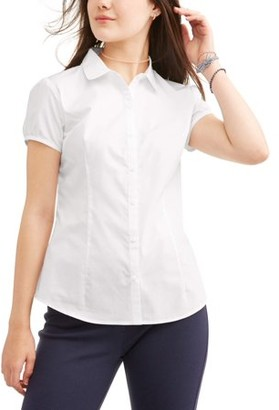 Wonder Nation Juniors School Uniform Short Sleeve Poplin Blouse