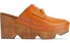 Stella McCartney Chain-Trimmed Studded Faux Leather Clogs