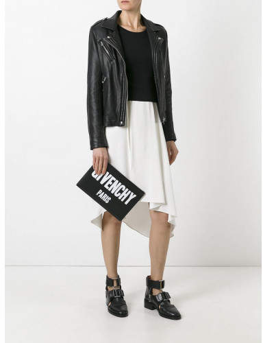 Givenchy Calf Leather Iconic Logo Printed Pouch - Black- Givenchy