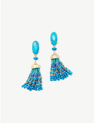 Kendra Scott Dove 14ct gold-plated aqua towellite tassel earrings