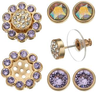 Swarovski Crystal Colors 14k Gold-Plated Interchangeable Flower Jacket & Stud Earring Set - Made with Crystals