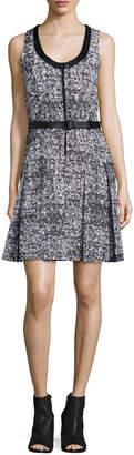 Proenza Schouler Sleeveless Belted Dress W/Contrast Trim, Black/White/Ecru