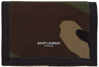 Saint Laurent Green Camouflage Trifold Wallet