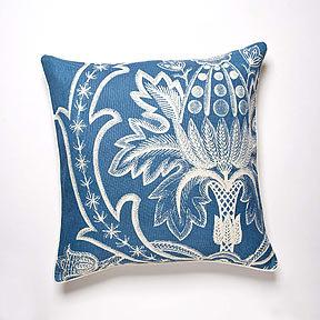 Thomas Paul Broderie Aqua Linen Pillow