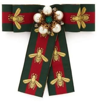 Gucci Pearl Encrusted Web Stripe Bow Brooch - Womens - Green