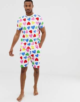 Asos DESIGN Valentines pyjama set in rainbow hearts