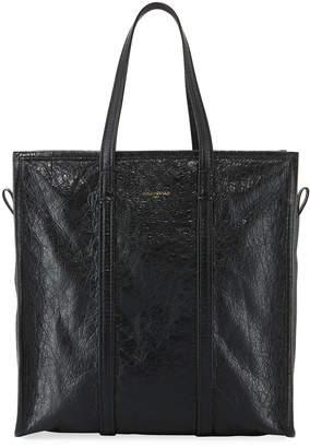Balenciaga Bazar Medium Leather Shopper Tote Bag, Black