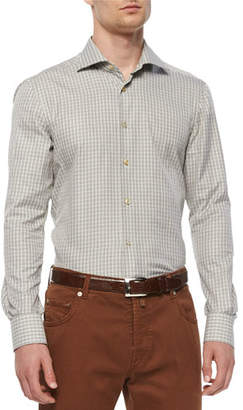 Kiton Check Long-Sleeve Woven Shirt, Olive/Tan