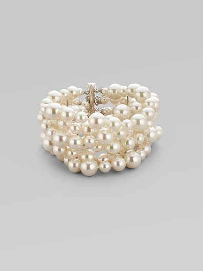 Majorica 6MM-10MM White Six-Row Pearl Bracelet