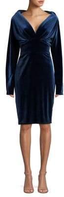 Tadashi Shoji Long-Sleeve Twisted Velvet Dress