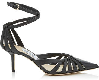 Jimmy Choo TRAVIS 65 Black Metallic Nappa Leather Strappy Pump with a Pointed Toe