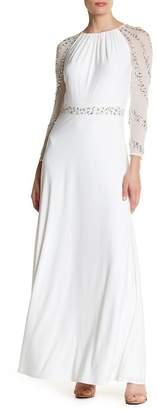 Marina Embellished Mesh Sleeve Gown