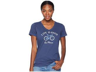 Life is Good Go Places Bike Crusher Vee T-Shirt