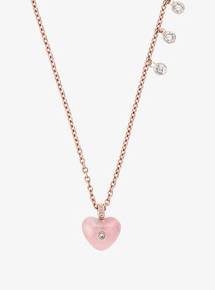 and necklace product kors key lock in michael goldclear jewelry rose pave pink lyst pendant