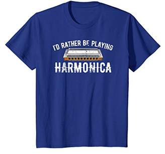 Modern Blues Harmonica T-Shirt Rather Be Playing Harmonica