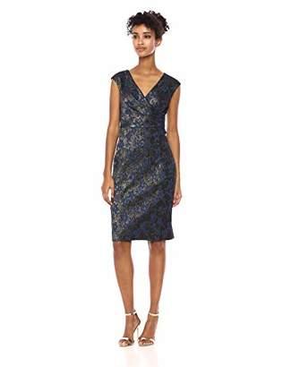Adrianna Papell Women's Extended Shoulder Metallic Jacquard Modern Sheath Dress