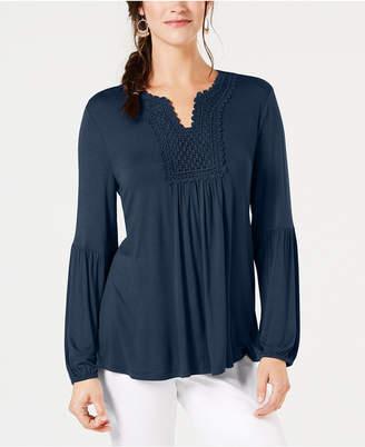Style&Co. Style & Co Crochet-Trim Top