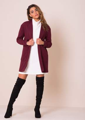 Missy Empire Missyempire Jessika Wine Wool Boyfriend Coat