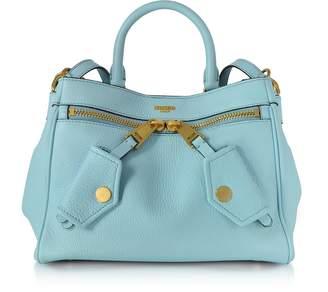 Moschino Light Blue Leather Satchel Bag
