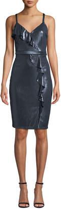 GUESS Metallic Ruffle Sheath Dress