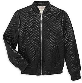 c1b75146f Girls Leather Bomber Jacket - ShopStyle