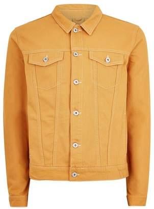 Topman Mens Yellow Mustard Contrast Stitch Denim Jacket