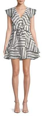 Halston H Striped Ruffle Dress