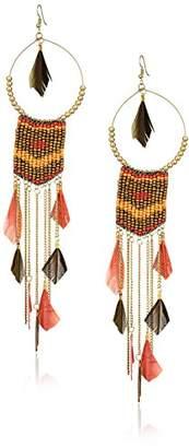 Panacea Women's Brown Multi Bead Feather Drop Earrings
