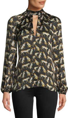 Milly Emmie Long-Sleeve Cheetah-Print Silk Top
