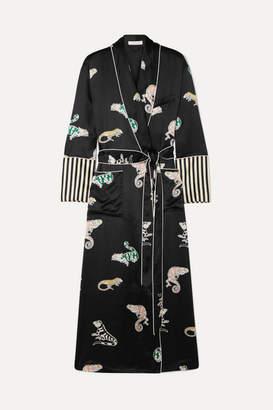 Olivia von Halle Capability Printed Silk-satin Robe - Midnight blue