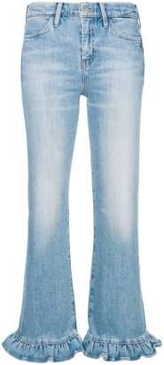 MiH Jeans ruffle trim flared leg jeans