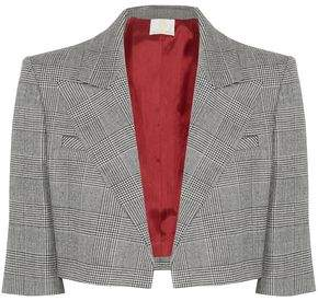 Sara Battaglia Cropped Prince Of Wales Checked Wool-Blend Blazer