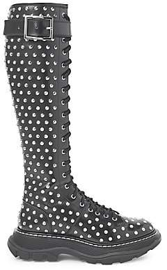 Alexander McQueen Women's Studded Tread Lace-Up Leather Boots