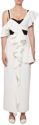 Proenza Schouler One-Shoulder Ruffle Long Dress