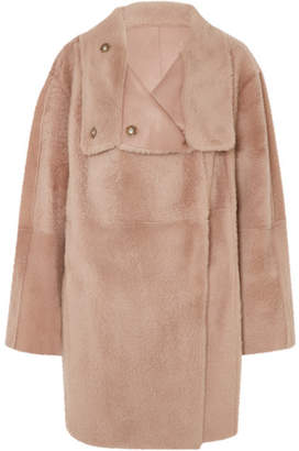 Yves Salomon Lacon Reversible Shearling Coat - Beige